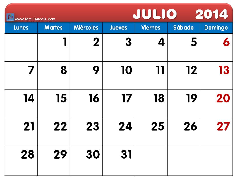 Calendario Mes de Julio 2014 Calendario Julio 2014 Para